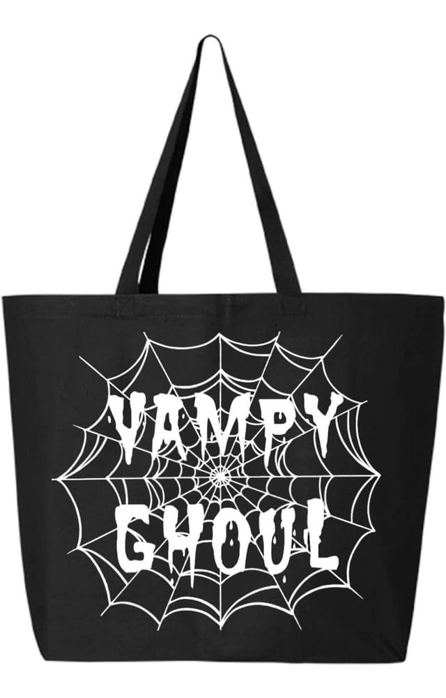 Image of Vampy Ghoul Webs Large Tote Bag