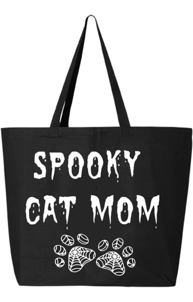 Image of Spooky Cat Mom Large Tote Bag