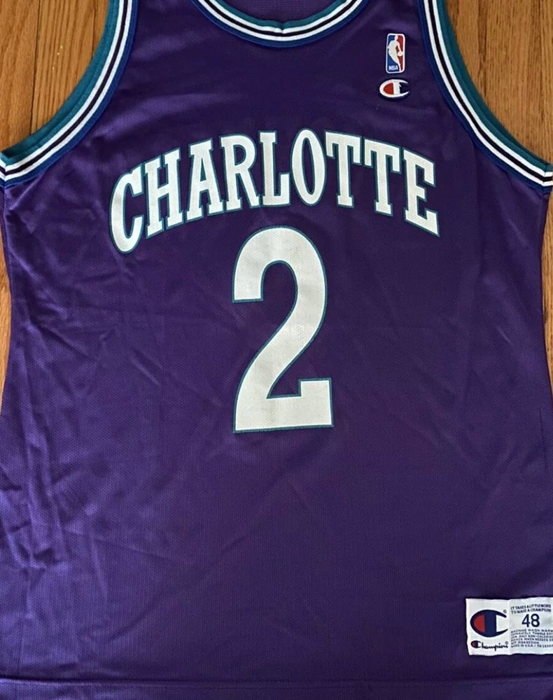 Image of 90's Vintage Champion Larry Johnson Jersey Size (48) Made in the USA