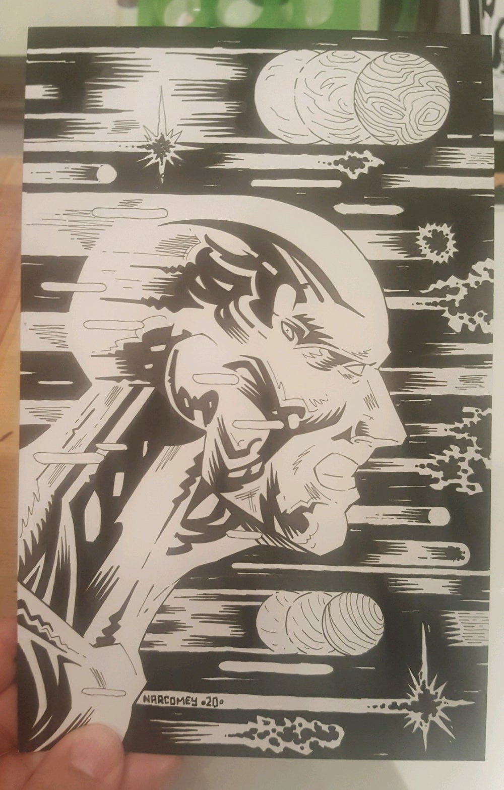 SILVER SURFER original art 5.5x8.5