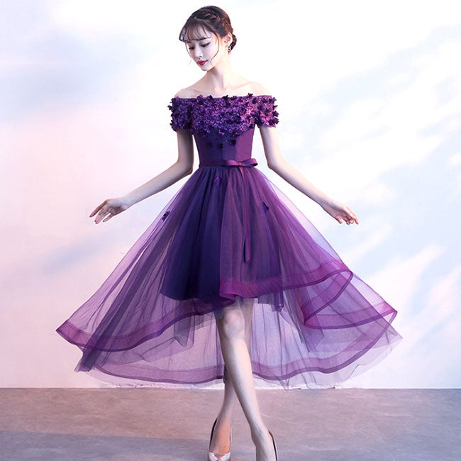 Lovely Tulle with Flowers Off Shoulder Party Dress, Cute High Low Prom Dress