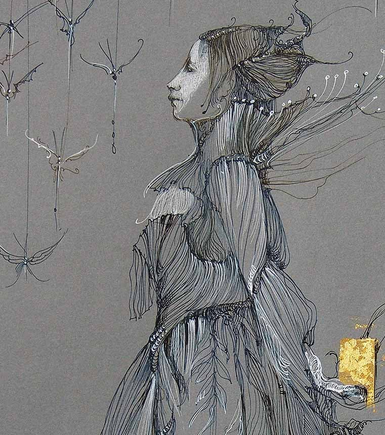 Image of ANNE BACHELIER - 'L'ETOURDIE' -  ORIGINAL PEN & INK DRAWING