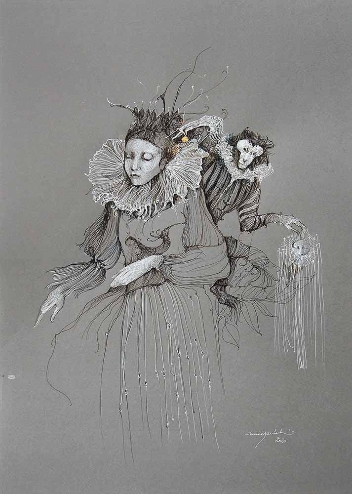 Image of ANNE BACHELIER - 'PETIT TRE'SOR' - ORIGINAL PEN & INK DRAWING