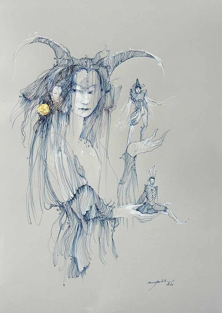 Image of ANNE BACHELIER - 'LE JEU' - ORIGINAL PEN & INK DRAWING