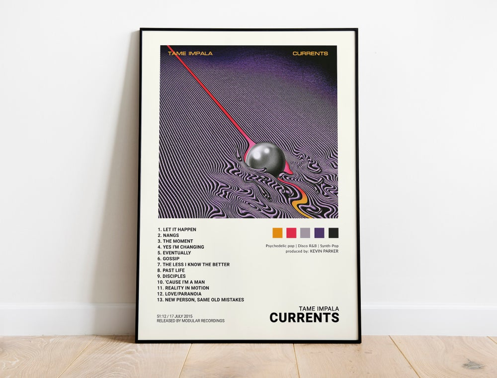 "Tame Impala - ""Currents"" Album Cover Poster Print (Tracklist)"