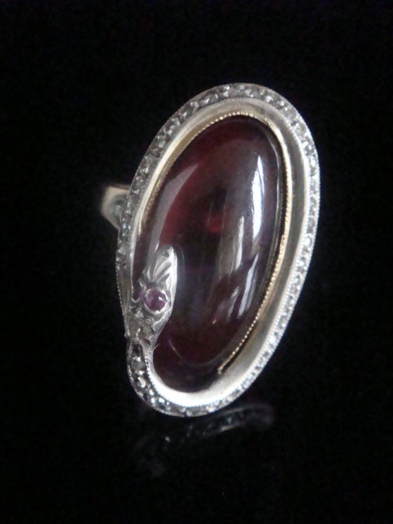 Image of Rare Edwardian French 18ct rose gold platinum cabochon garnet rose cut diamonds snake ring