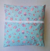 Image of Blue Cupcake Cushion Cover