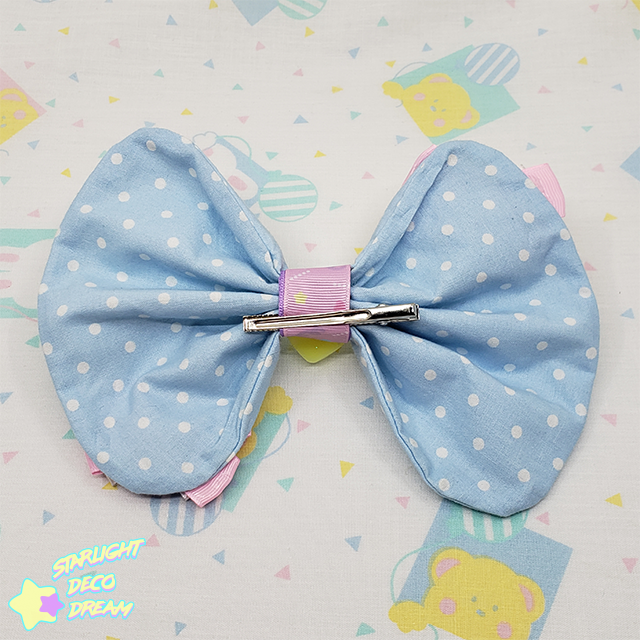 Image of Big Sweet Heart County Dot Cotton Hair Bow Alligator Hair Clip