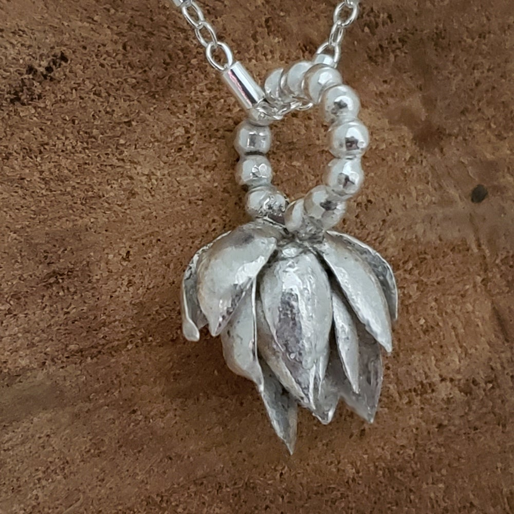 Image of Solid Sterling Handcast Succulent Pendant Necklace
