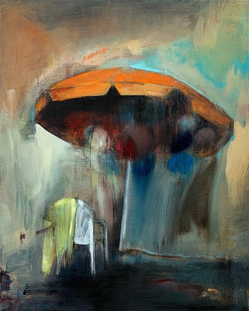 "Image of Painting / maleri / ""Parasol"" / 40x50 cm"
