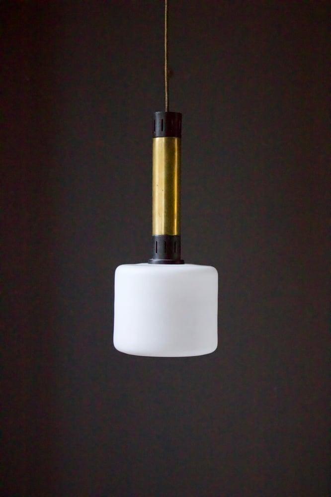 Image of Pair of Brass & Glass Pendant Lights, Stilnovo Italy