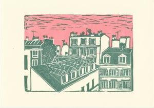 """""""Toîts de Paris - Delouvain""""    -  Linogravure"""