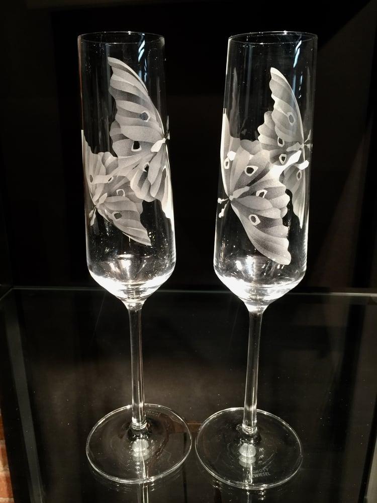 Image of Luna Moth Champagne Flutes