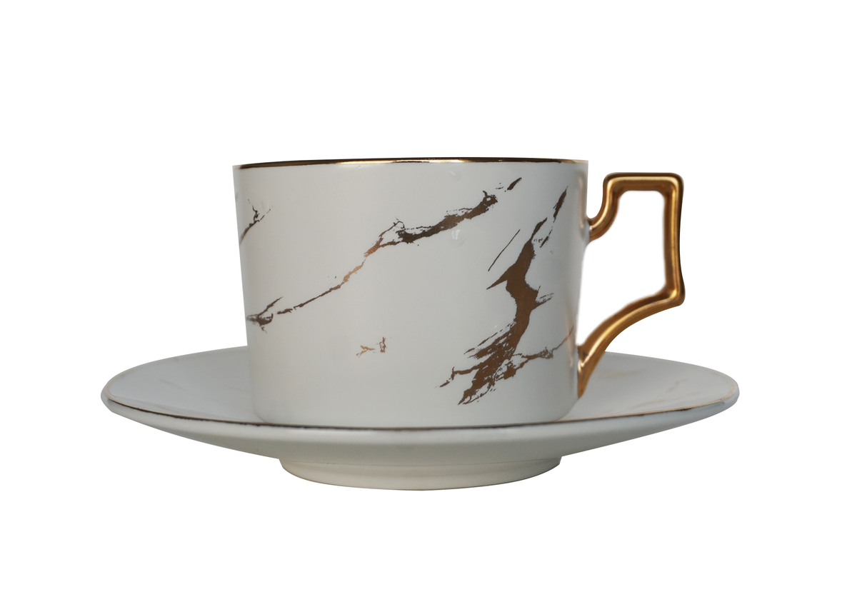 Image of White & Gold Marble Teacup Set for 2