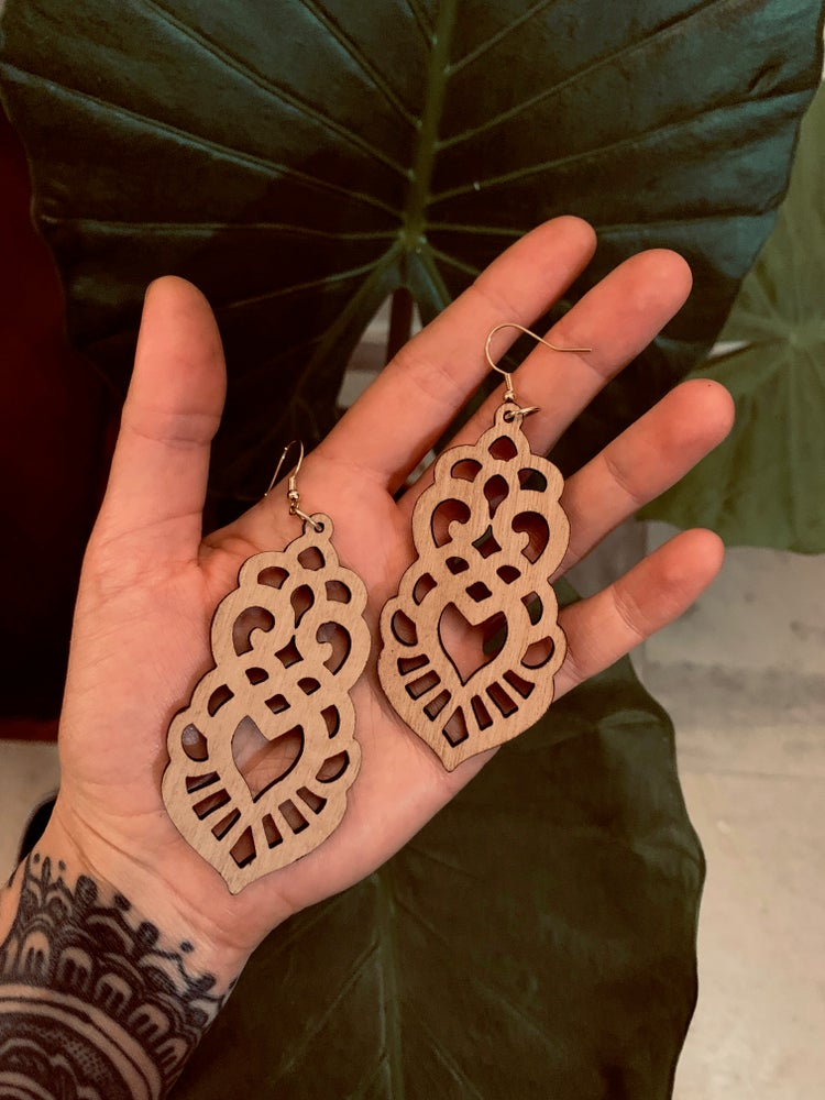 Image of Ornamental wood earrings 8