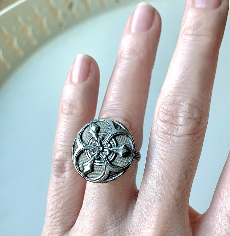 """Image of """"The Shield"""" Statement Button ring"""