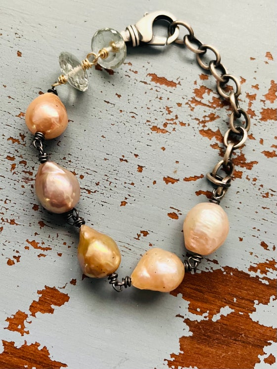 Image of Prasiolite And Baroque Pearl Bracelet