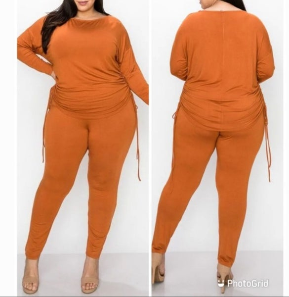 Image of PLUS SIZE COPPER LONG SLEEVE CINCHED SIDE SET