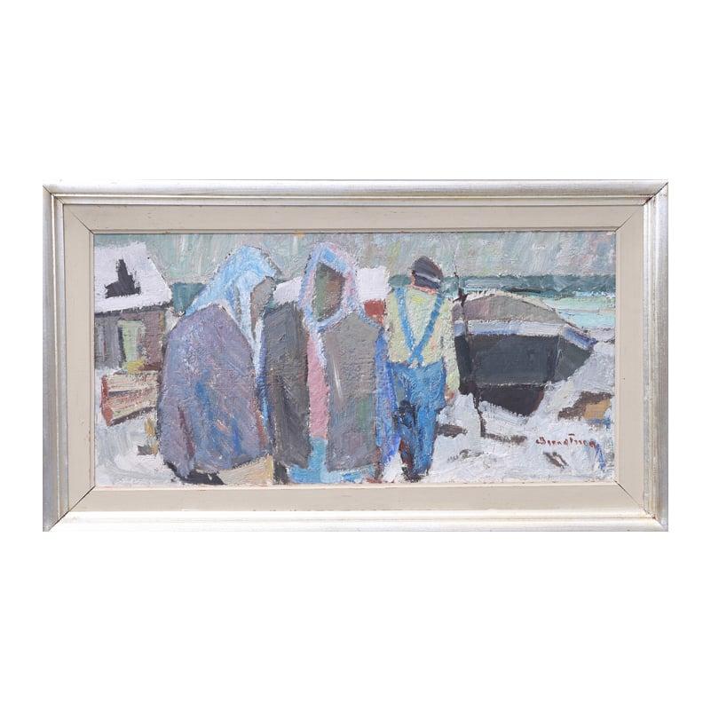 Image of Swedish Oil Painting, Fishermen. HILMER BENGTSSON.
