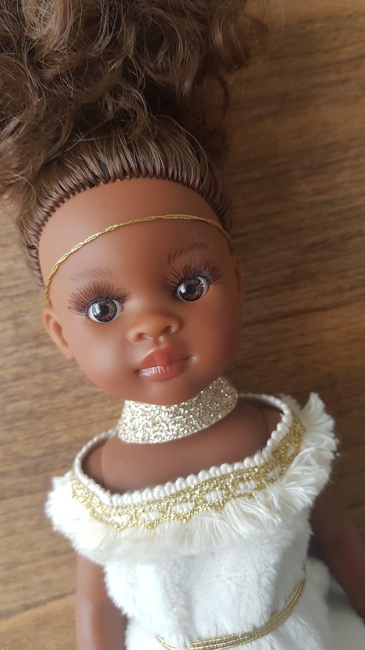Image of POUPEE DE NOEL - MODELE UNIQUE Elissa princesse nubienne (peau noire)