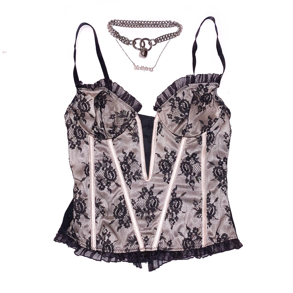 Image of 80s Vintage Black Lace Goth Cami Camisole Bustier Top Corset