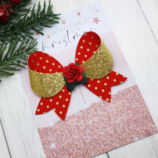 Image of Red / Gold Polka Dot Bow