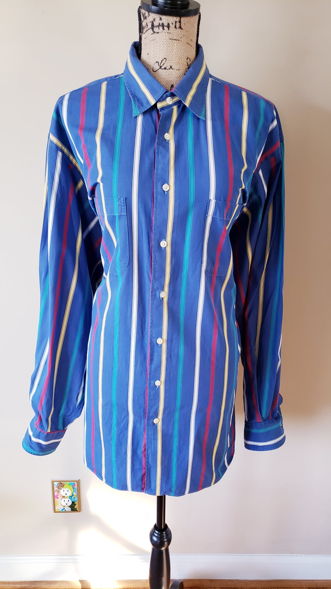 Image of Striped Long Sleeve Shirt Dress