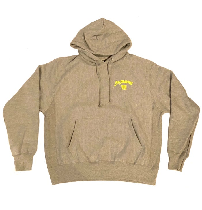 "Image of 2520 X CHAMPION ""STAY DANGEROUS"" HOODIE - OXFORD GRAY"