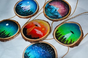 Image of Hand Painted Wooden Slice Landscapes 🎨