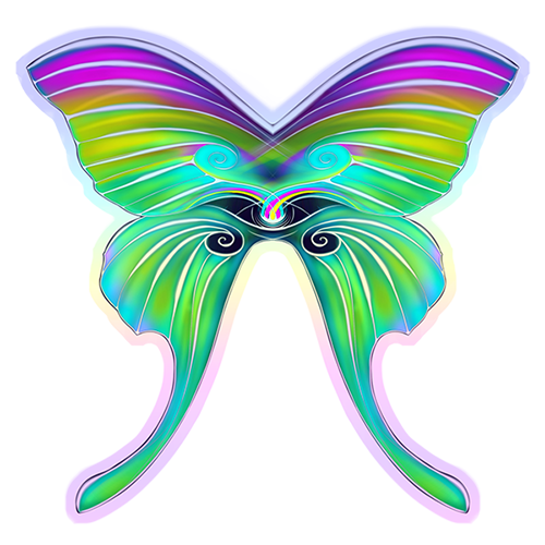 Image of holographic sticker: psEYEchedelic rainbow butterfly