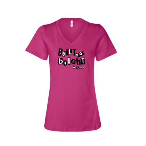 "Image of Women's Built Not Bought V-neck T-shirt ""Pink"""