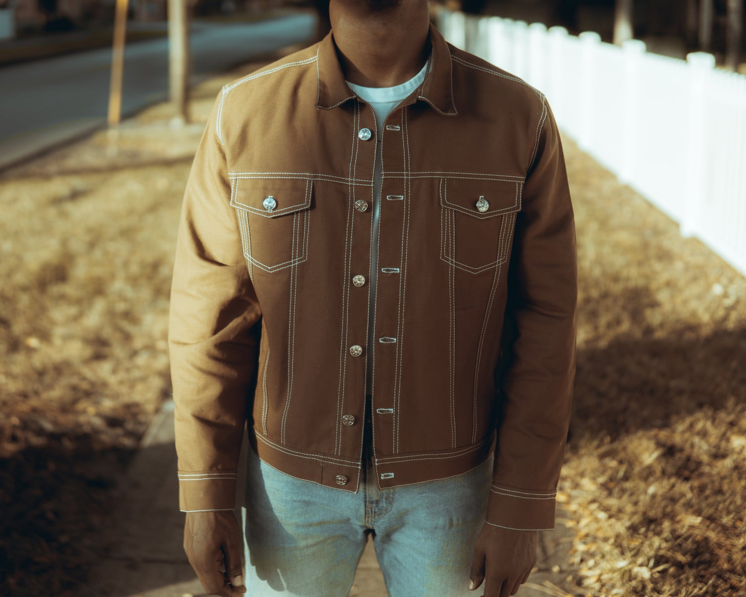 Image of Slim Brown Canvas Jacket