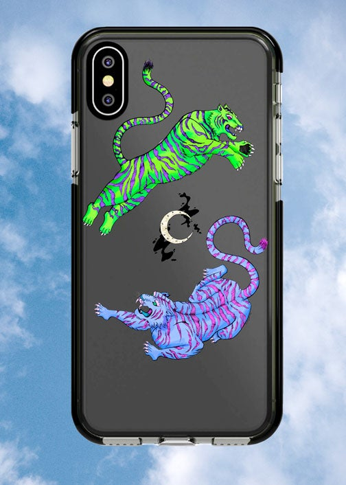 Image of Neon Duo Tigers Phone Case with Moon