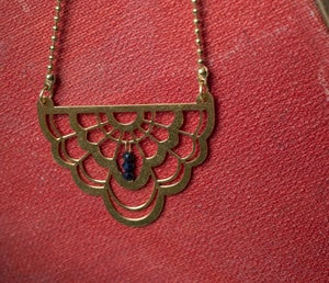 Image of Brass RBG Collar Necklace with Sapphire