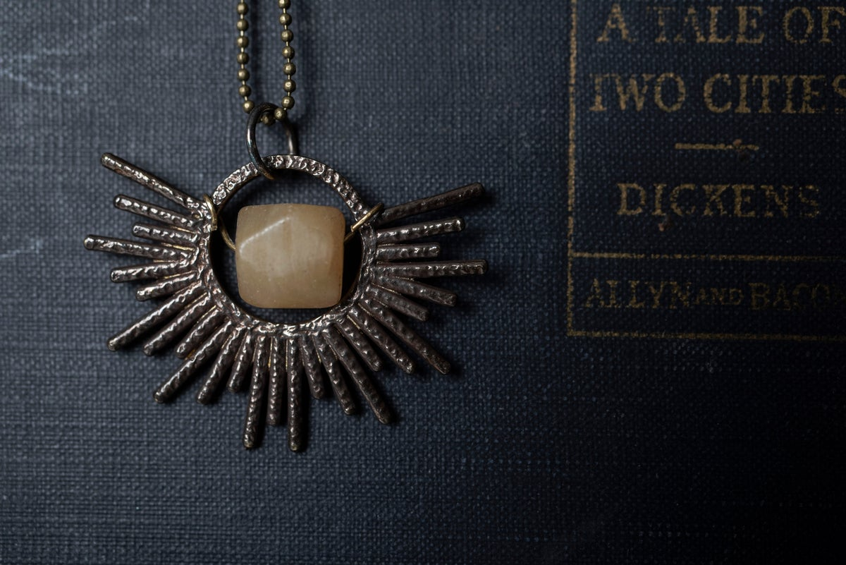 Image of Antique Brass Sun Necklace
