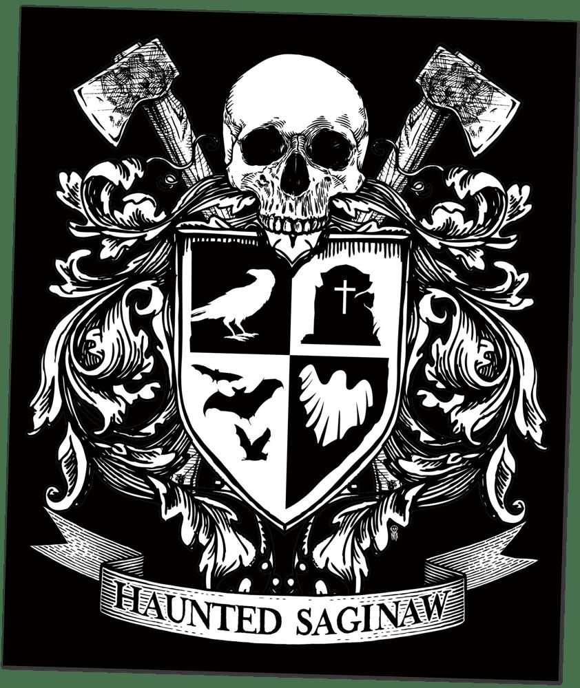 Image of Haunted Saginaw Crest Sticker (4x5.25)