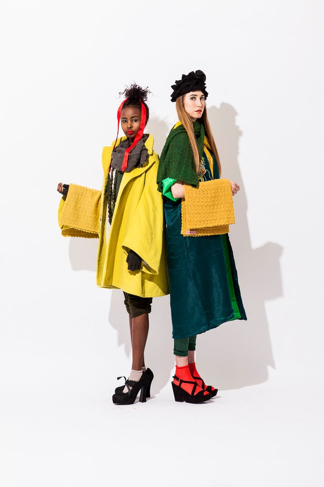 Image of Lace knitted poncho  Yellow
