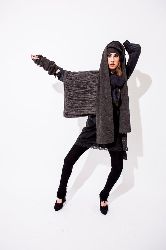 Image of Melange knitted poncho Grey