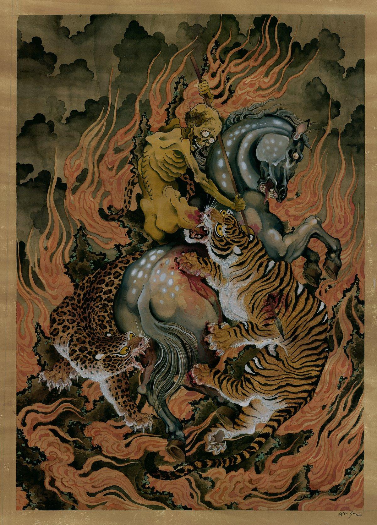 Image of  - Original Painting -Cavalier & Cats