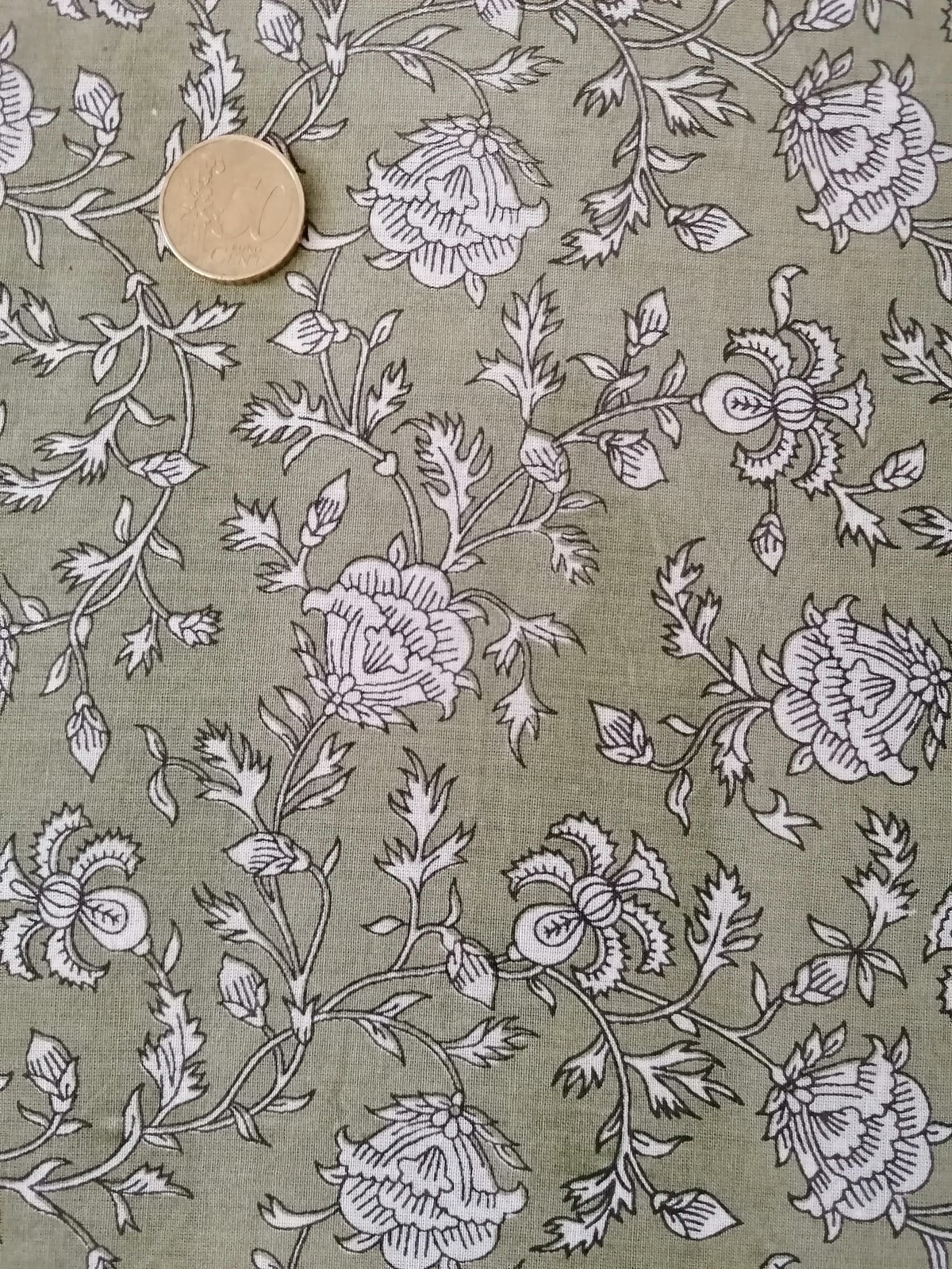 Image of Namasté fabric kaki petites fleurs blanches