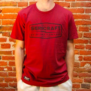 Image of SERICRAFT EMBLEM TEE - BURGUNDY