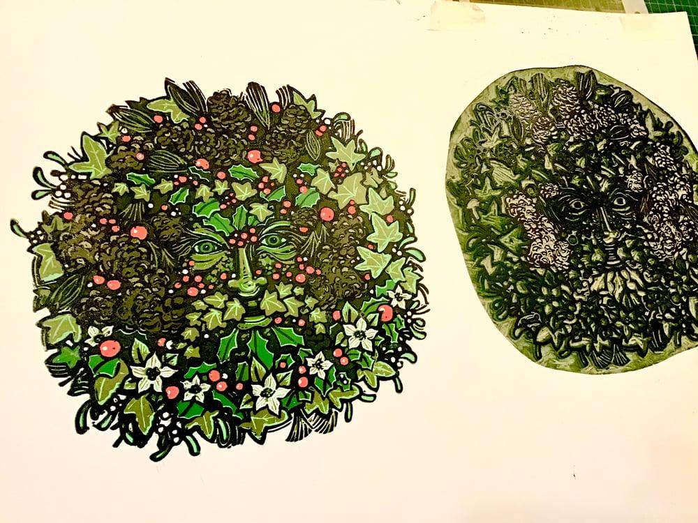 Winter Green Man linocut print