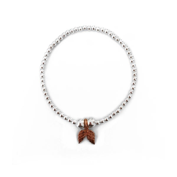 Image of Sterling Silver & Rose Gold Angel Wings Charm Bracelet