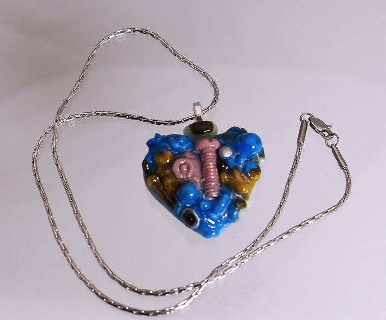 """Image of Fused Glass Pendant """"The Nuts and Bolts of Love"""""""
