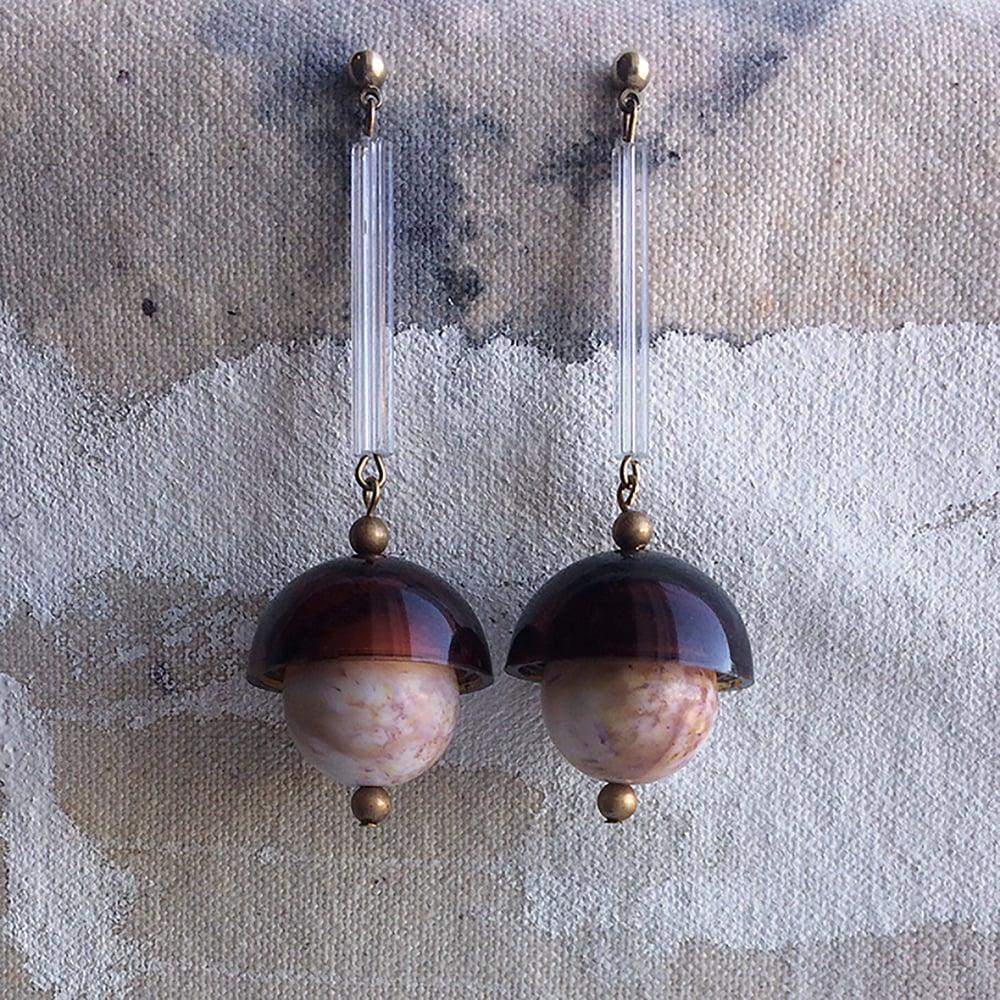 Image of Lucite Pendulum Earrings - Maple