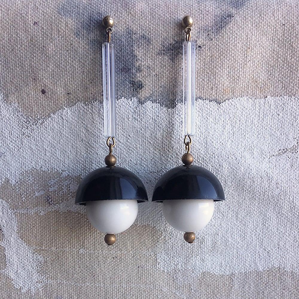Image of Lucite Pendulum Earrings - Black
