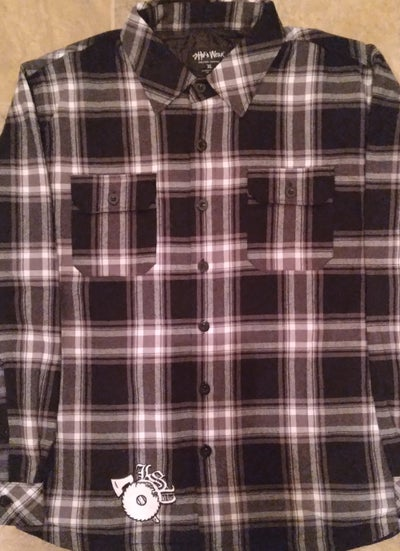 Image of LSP : BLACK W/ GREY & WHITE  FLANNEL JACKET