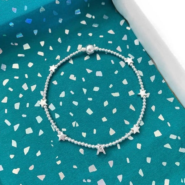 Image of Sterling Silver Initial Star Bead Bracelet