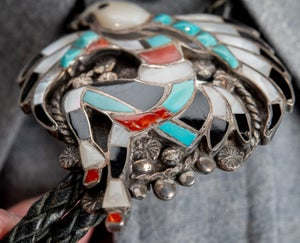 Image of Zuni Eagle Dancer Bolo Tie  by John Lucio Silversmith Turquoise MOP Coral inlay on Sterling Silver