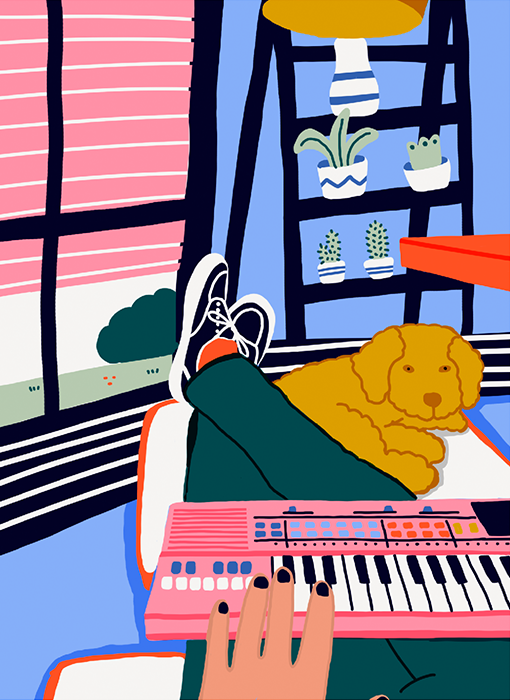 Image of Dog and piano